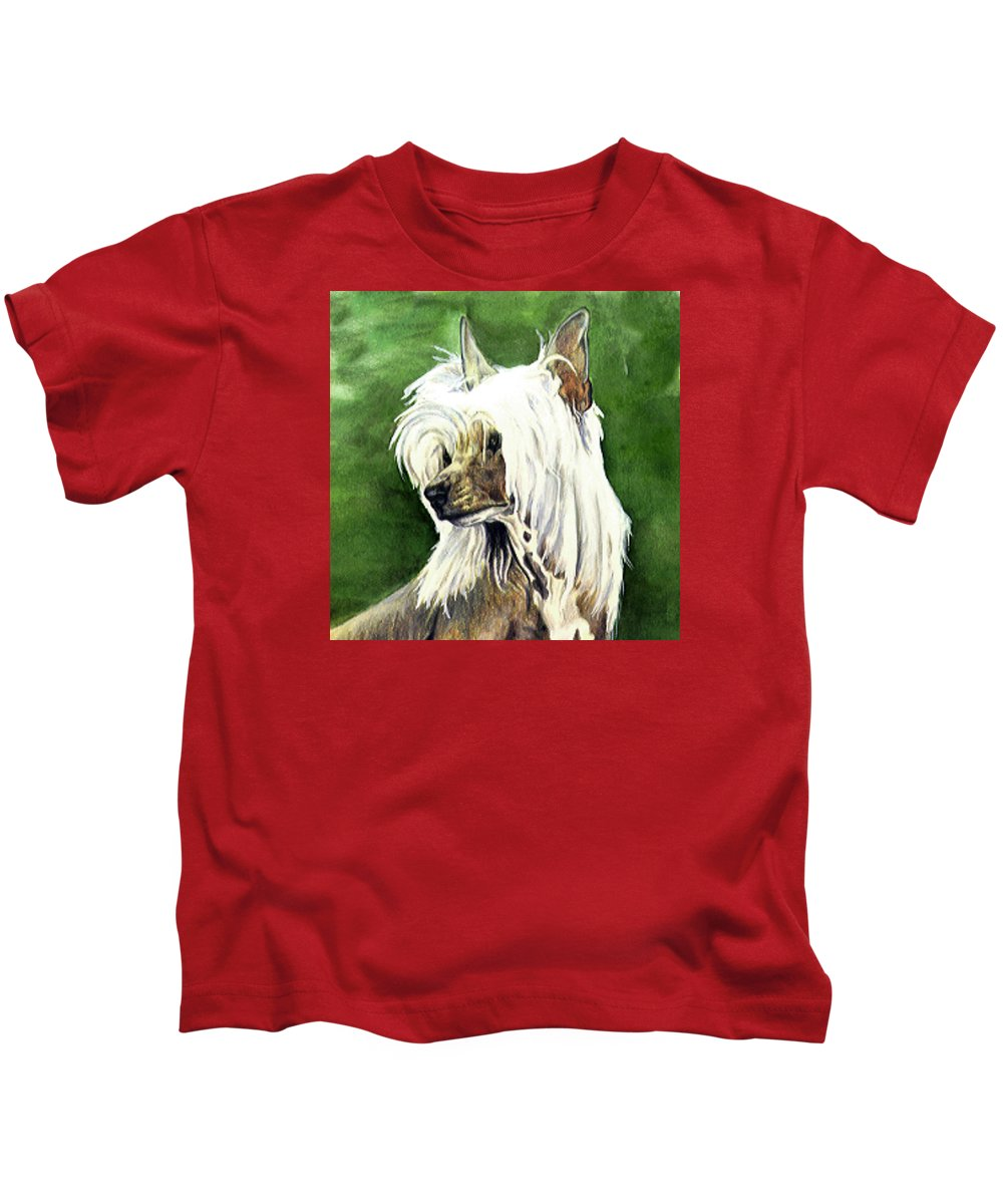 Art Kids T-Shirt featuring the painting Chinese Crested by Kathleen Sepulveda