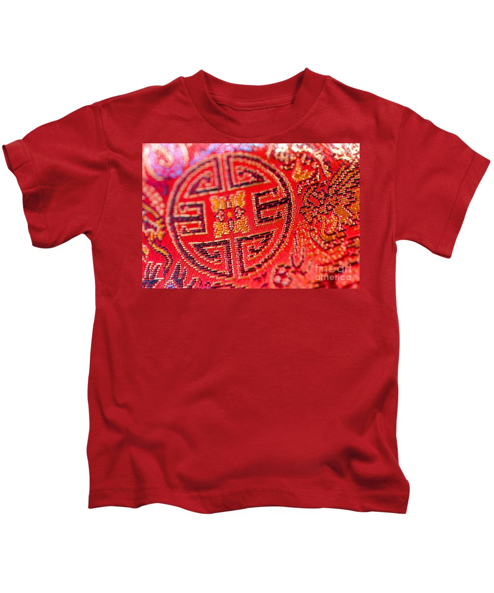 Asian Cultural Art Kids T-Shirt featuring the photograph Chinese Embroidery by Ray Laskowitz - Printscapes