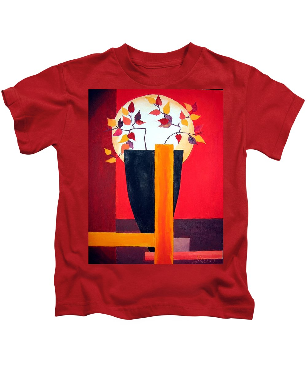 Flower Kids T-Shirt featuring the painting Chinese Flower On Vase by Alban Dizdari