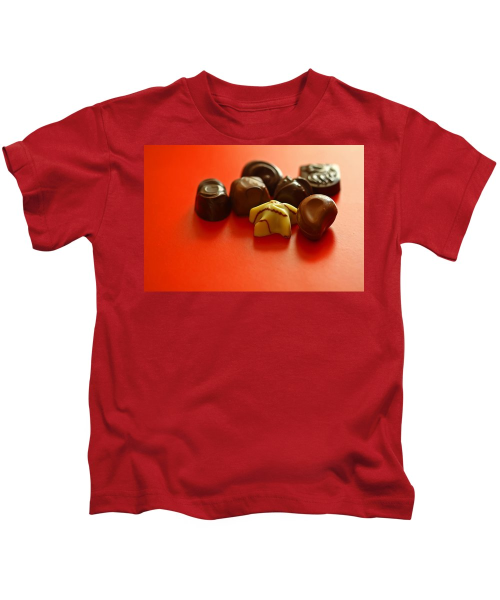 Still Life Kids T-Shirt featuring the photograph Chocolate Delight by Evelina Kremsdorf