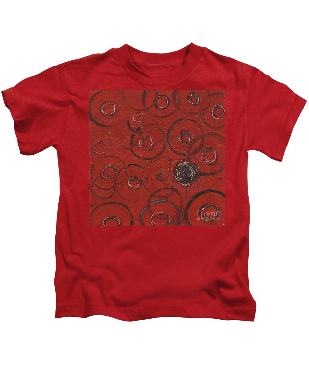Red Kids T-Shirt featuring the painting Choices In Red by Nadine Rippelmeyer