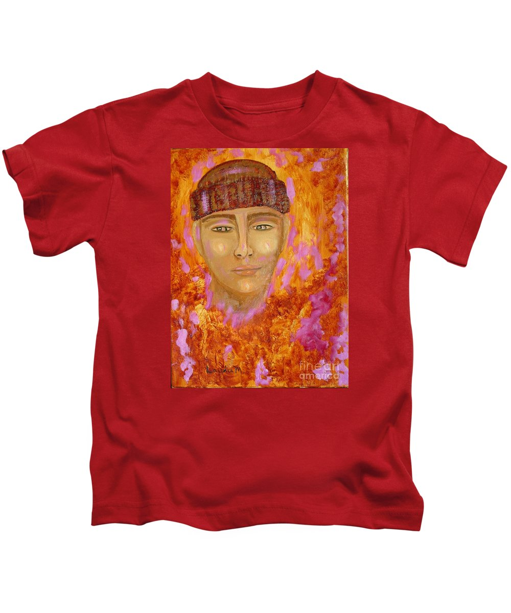 Portrait Kids T-Shirt featuring the painting Choices by Laurie Morgan