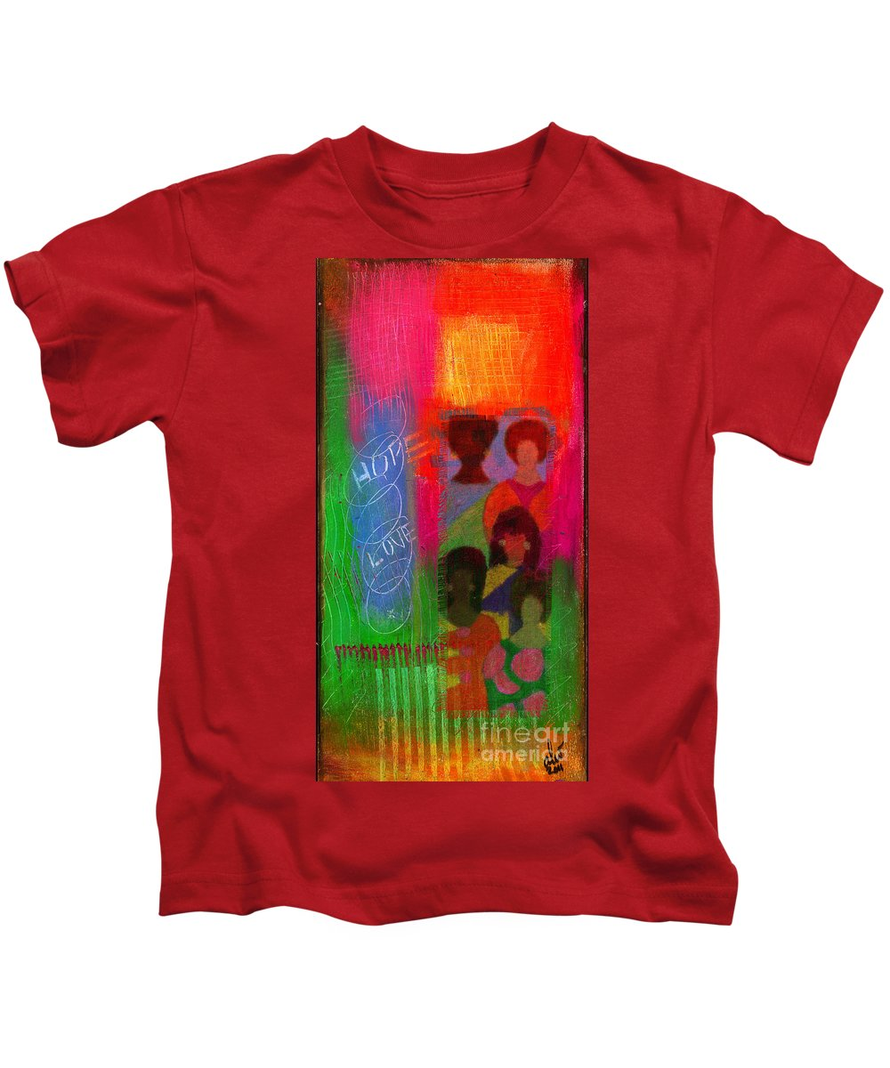 Gretting Cards Kids T-Shirt featuring the mixed media Choir Girls by Angela L Walker