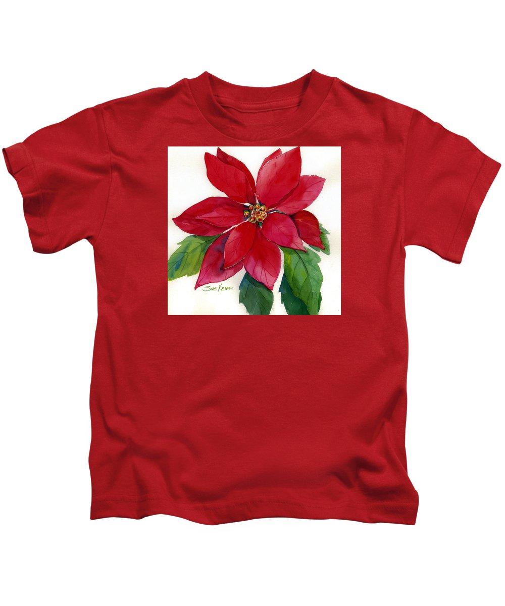 Flower Painting Kids T-Shirt featuring the painting Christmas Poinsettia by Sue Kemp