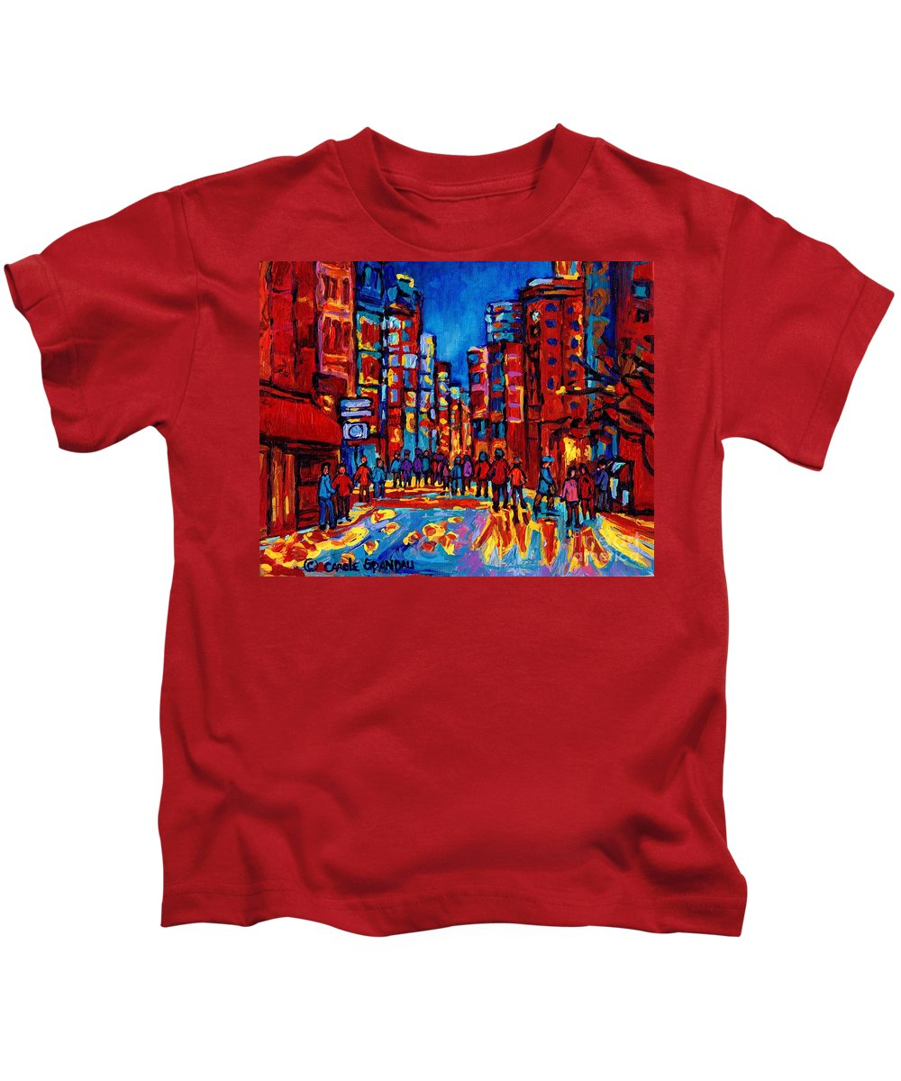 Montreal Kids T-Shirt featuring the painting City After The Rain by Carole Spandau