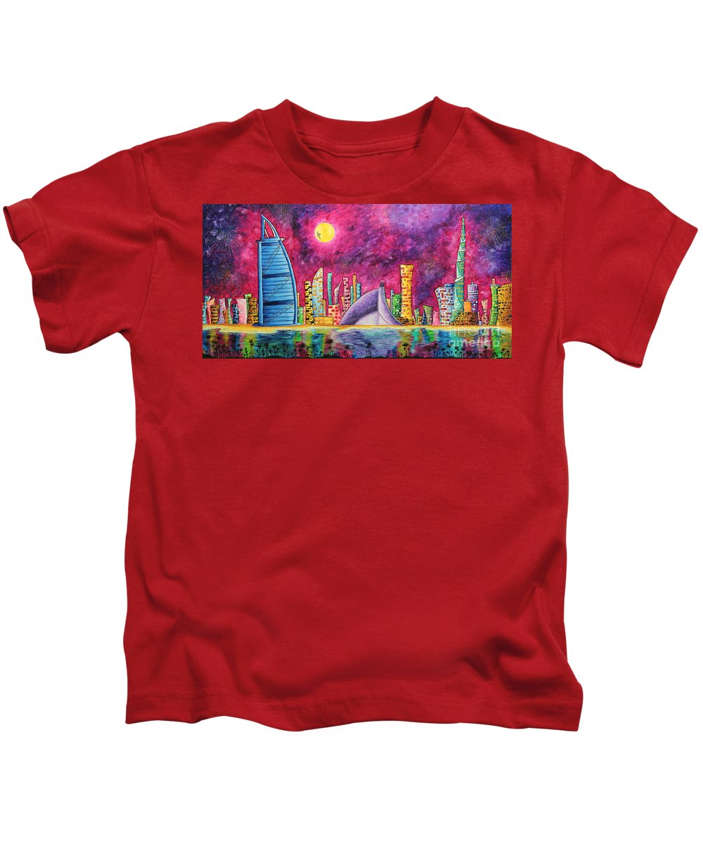 Dubai Kids T-Shirt featuring the painting City Of Dubai Pop Art Original Luxe Life Painting By Madart by Megan Duncanson