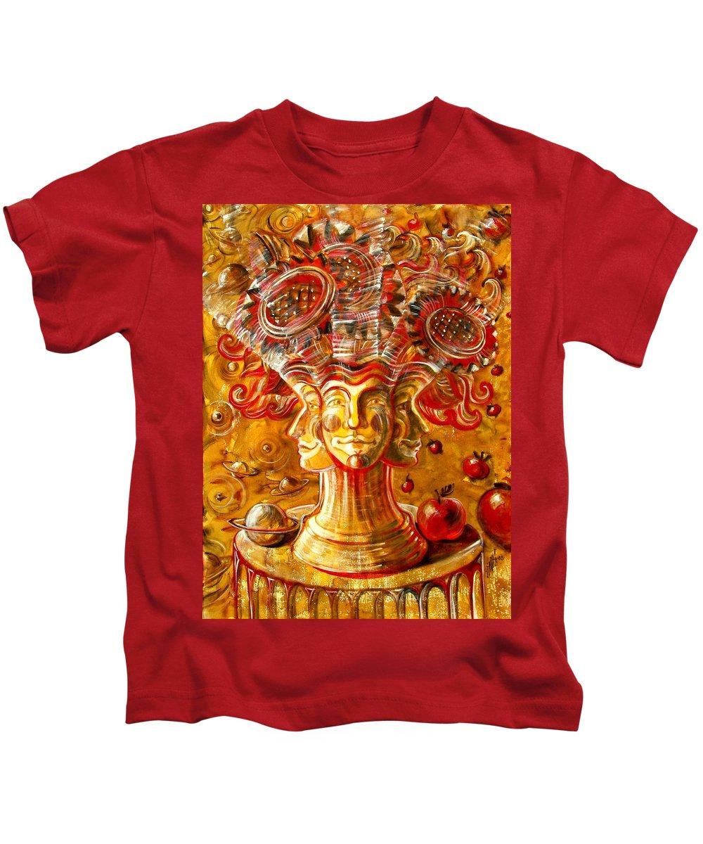 Inga Vereshchagina Kids T-Shirt featuring the painting Clowns With Sunflowers by Inga Vereshchagina