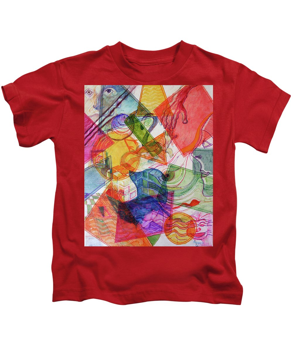 Drawing Kids T-Shirt featuring the painting Collaboration by Gideon Cohn