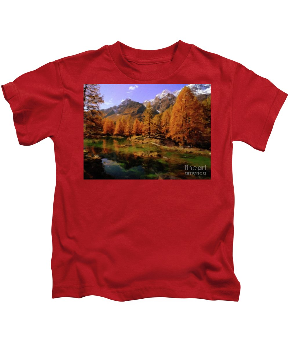 Landscape Kids T-Shirt featuring the painting Colorado Nature by Sarah Kirk