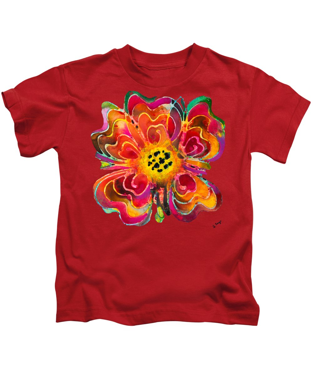 Colorful Kids T-Shirt featuring the painting Colorful Flower Art - Summer Love By Sharon Cummings by Sharon Cummings