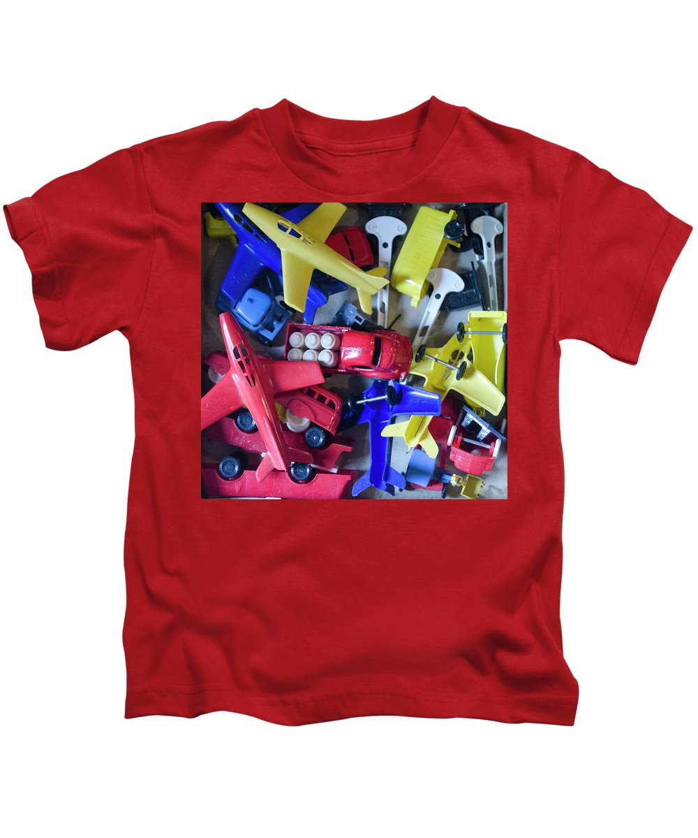Toys Kids T-Shirt featuring the photograph Colorful Plastic Toys #1 by Erik Burg