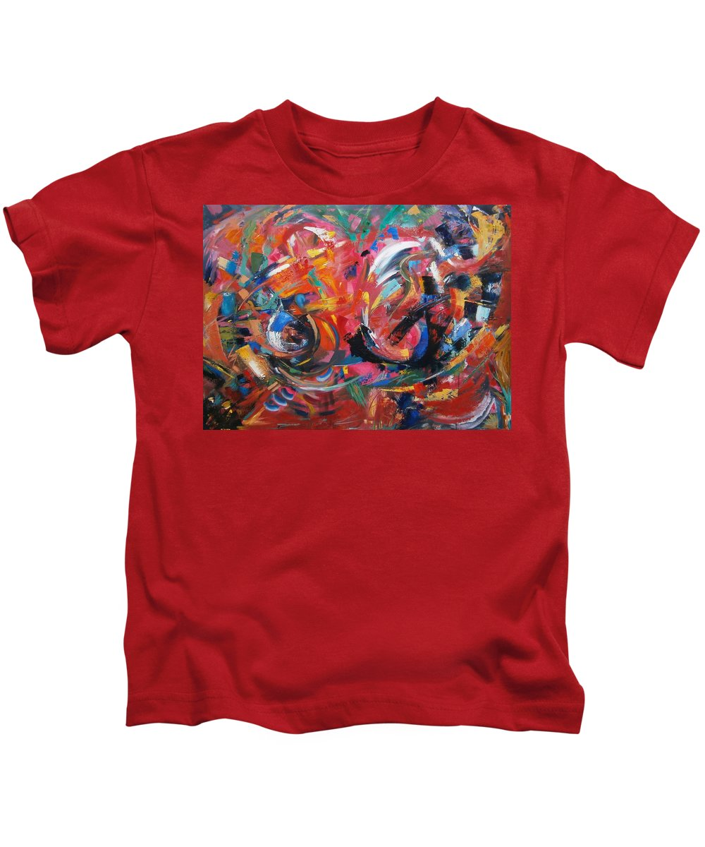 Commotion Kids T-Shirt featuring the painting Committee Action by Gary Coleman