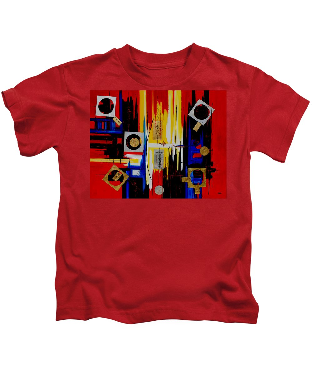 Abstract Kids T-Shirt featuring the painting Composition - 4 - by Miroslav Stojkovic - Miro