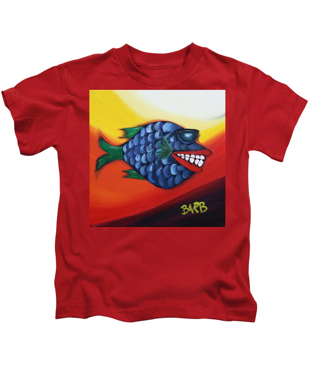 Ray Ban Kids T-Shirt featuring the painting Cool Dude by Barbara Teller
