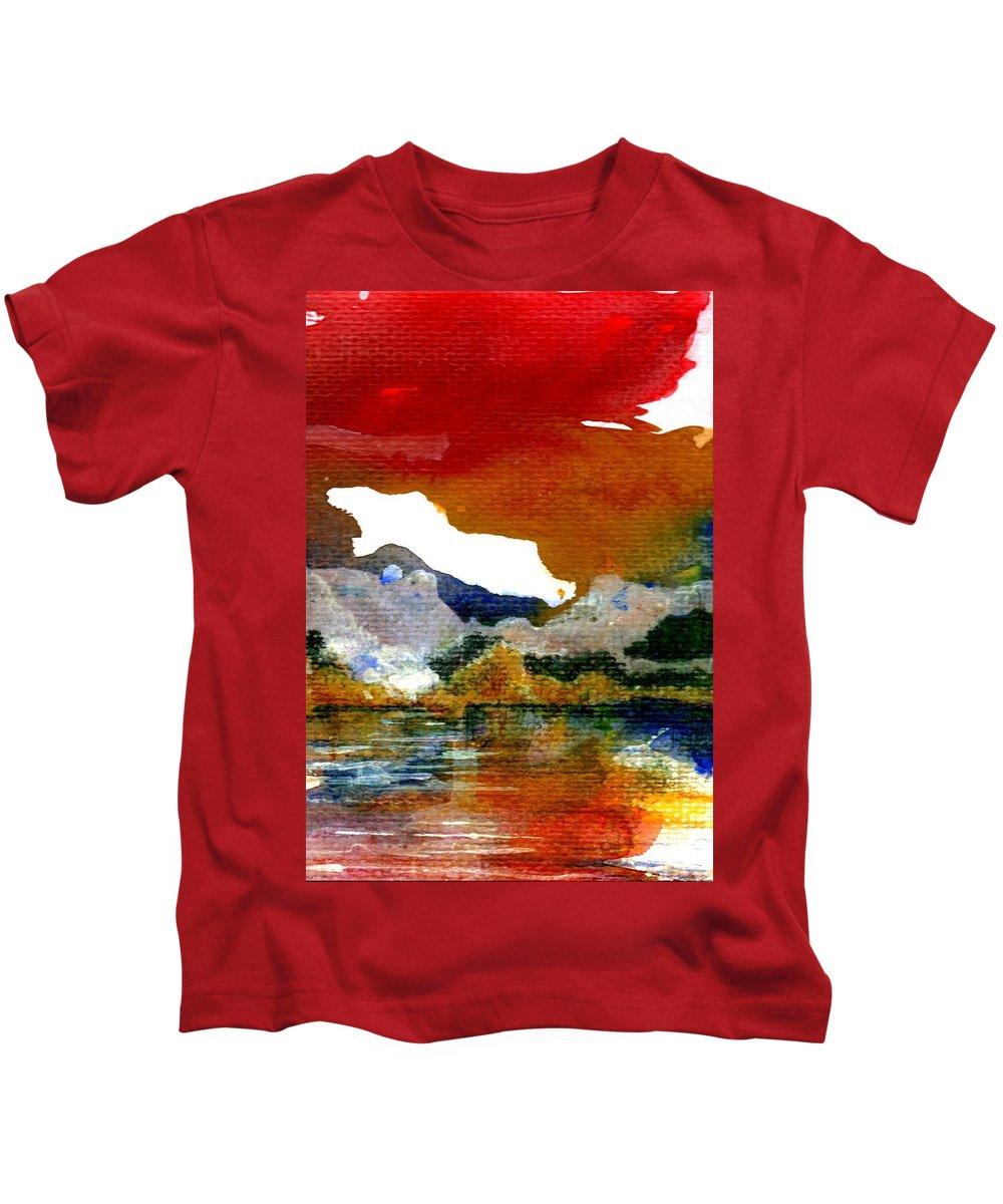 Copper Lake Kids T-Shirt featuring the painting Copper Lake by Melody Horton Karandjeff