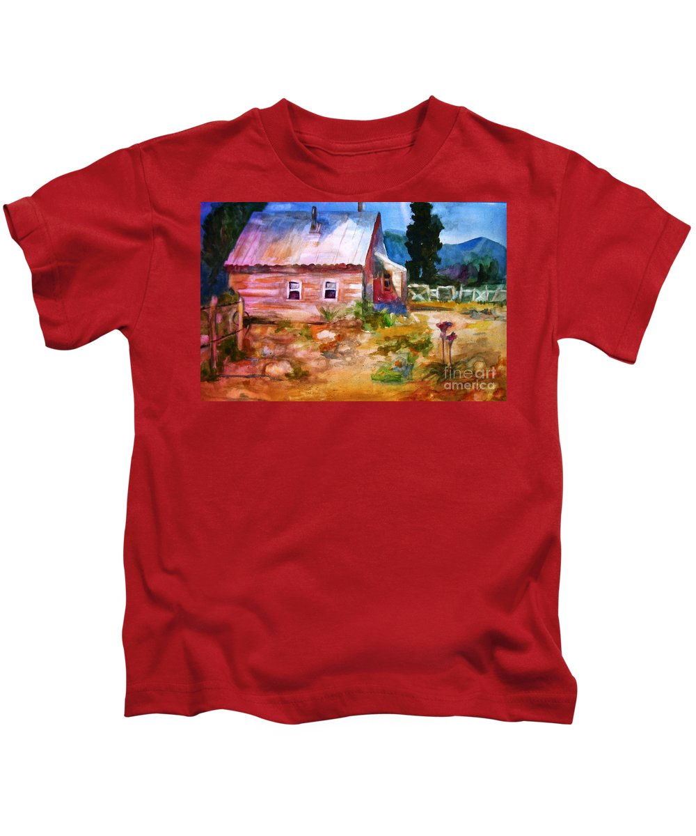 Cottage Kids T-Shirt featuring the painting Country House by Frances Marino