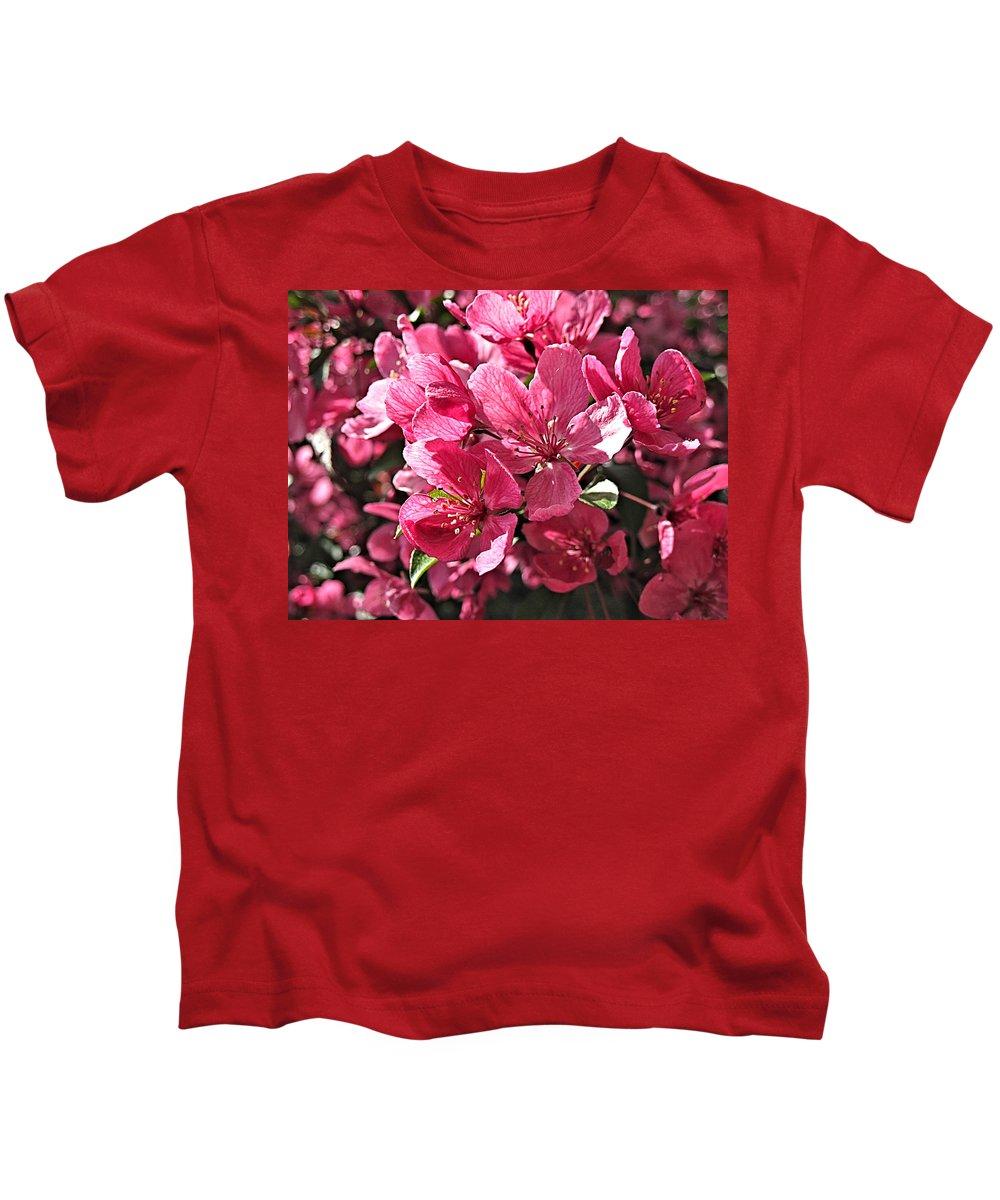 Crab Apple Kids T-Shirt featuring the digital art Crab Apple Blossoms 04302015-1 by Doug Morgan