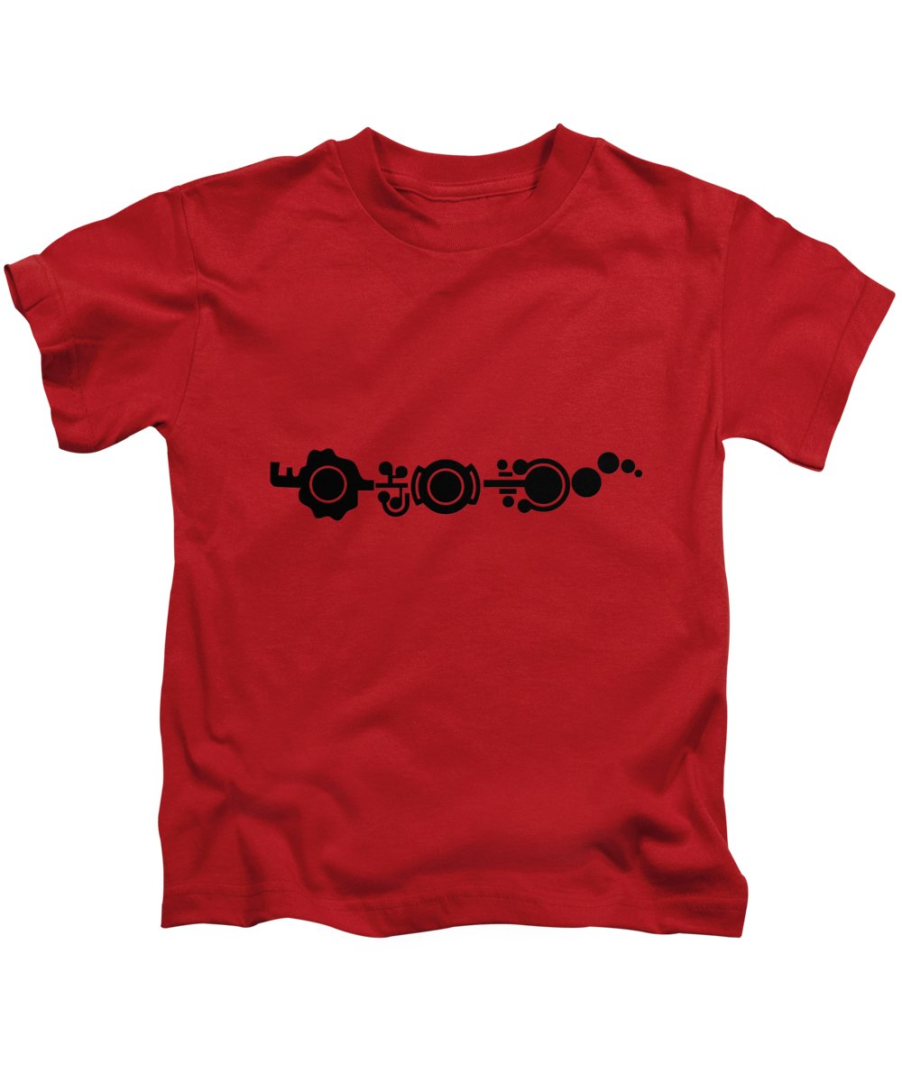'the Signs' Collection By Serge Averbukh Kids T-Shirt featuring the digital art Crop Circle Formation Near Market Harborough In Leicestershire England In Black by Serge Averbukh