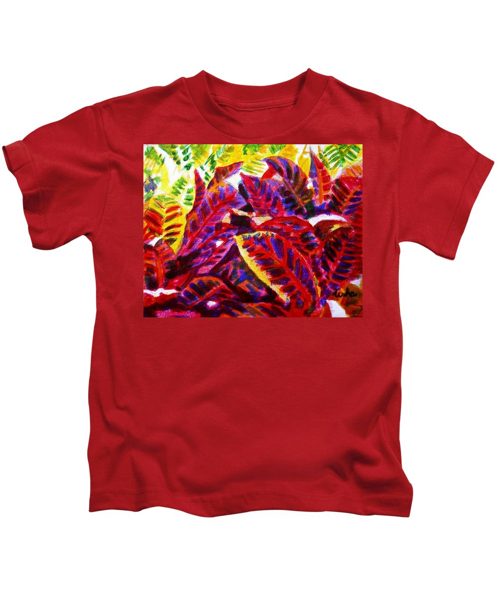Nature Kids T-Shirt featuring the painting Crotons Sunlit 1 by Usha Shantharam