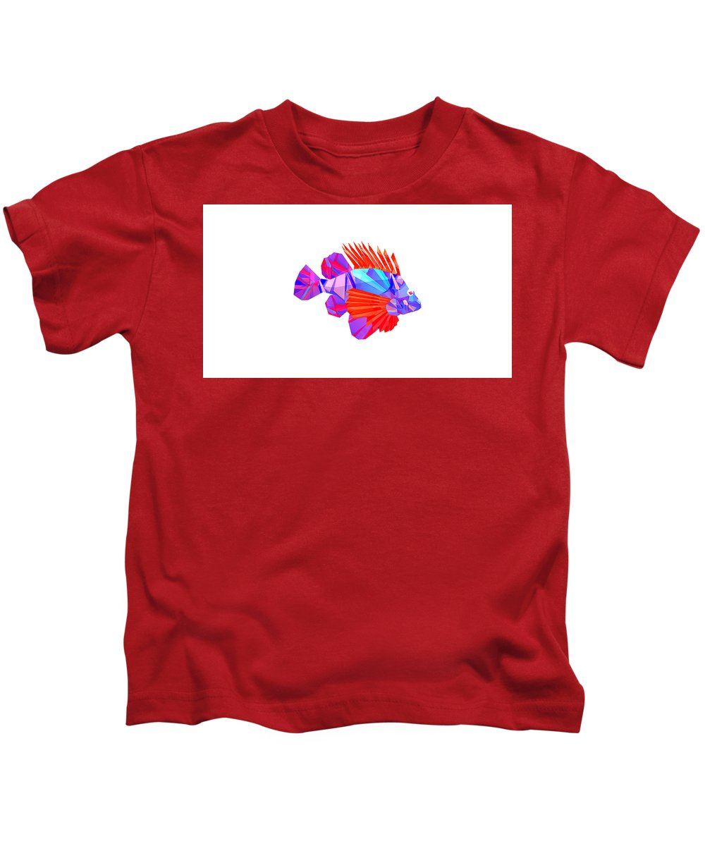 Low Polygon Kids T-Shirt featuring the digital art Crystal Fish - 20 by Jovemini ART