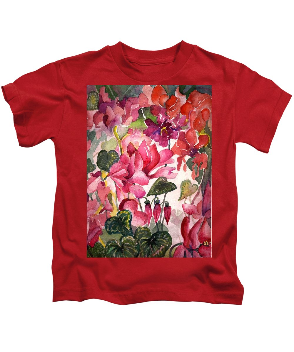 Cyclamen Kids T-Shirt featuring the painting Cyclamen by Mindy Newman