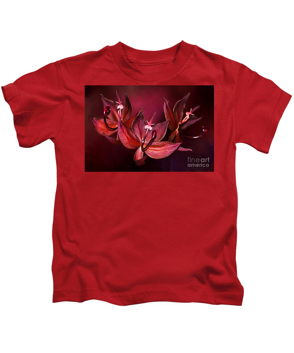 Orchid Kids T-Shirt featuring the digital art Cycnoches Cooperi Flowers by Suzanne Handel