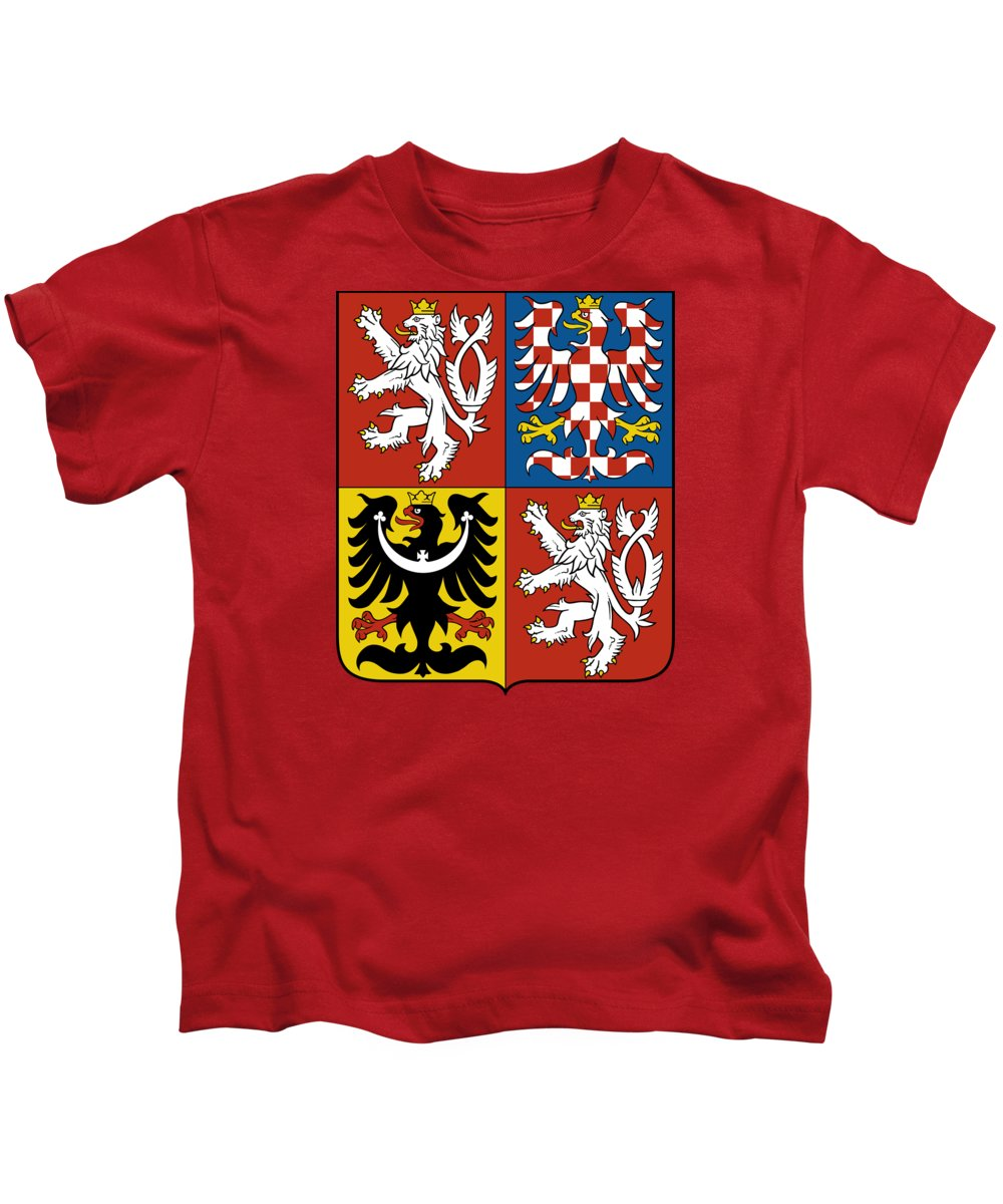Czech Republic Kids T-Shirt featuring the drawing Czech Republic Coat Of Arms by Movie Poster Prints