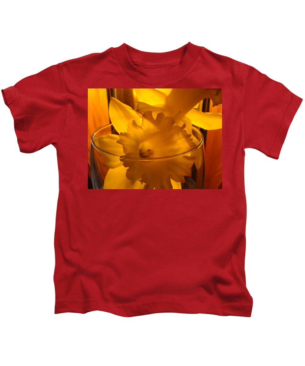 �daffodils Artwork� Kids T-Shirt featuring the photograph Daffodiil Flowers Evening Glow 9 Contemporary Modern Art Print Giclee by Baslee Troutman