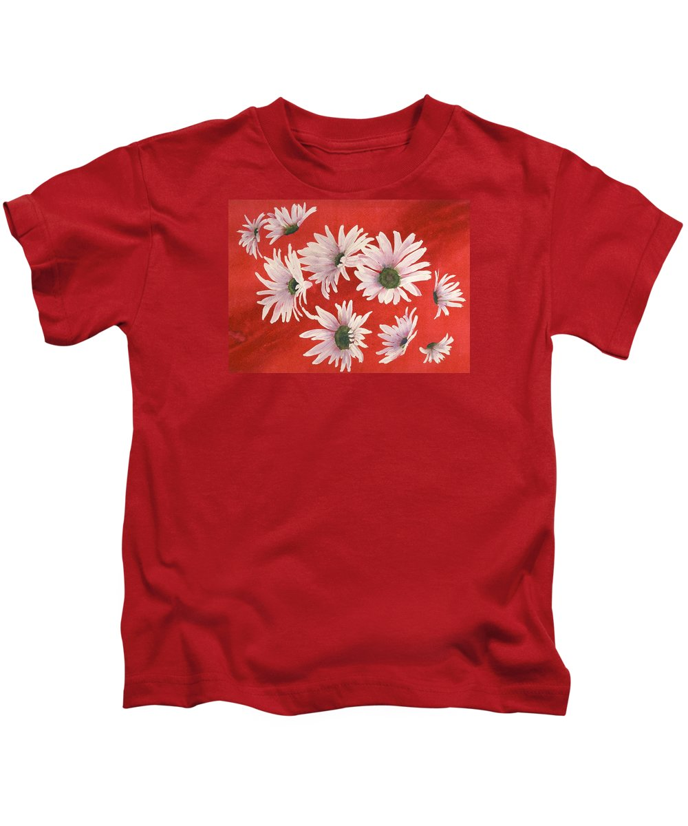 Flowers Kids T-Shirt featuring the painting Daisy Chain by Ruth Kamenev