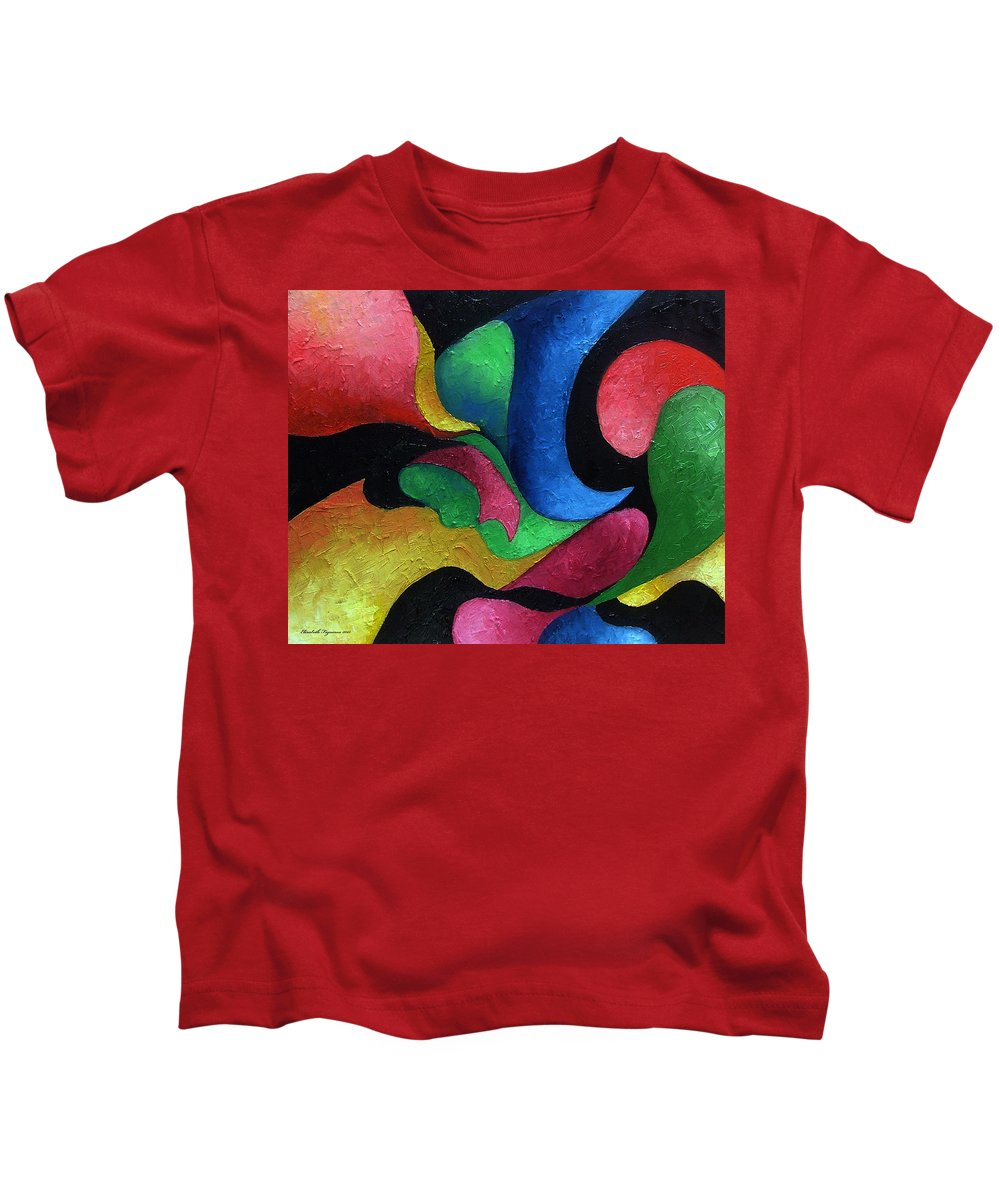 Abstract Kids T-Shirt featuring the painting Dance With Me by Elizabeth Lisy Figueroa