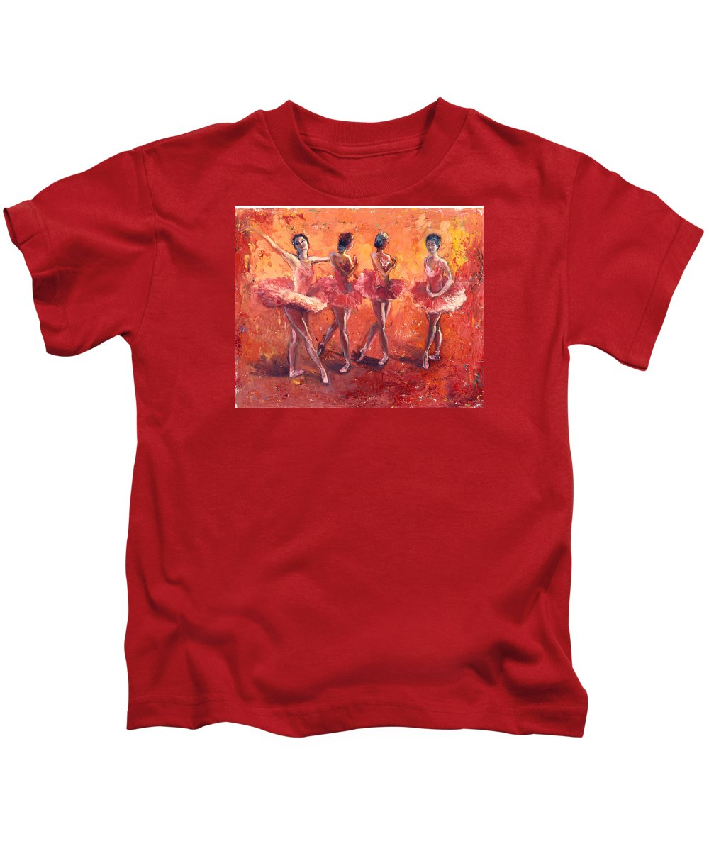 Ballerina's Kids T-Shirt featuring the painting Dancers In The Flame by Janet Lavida