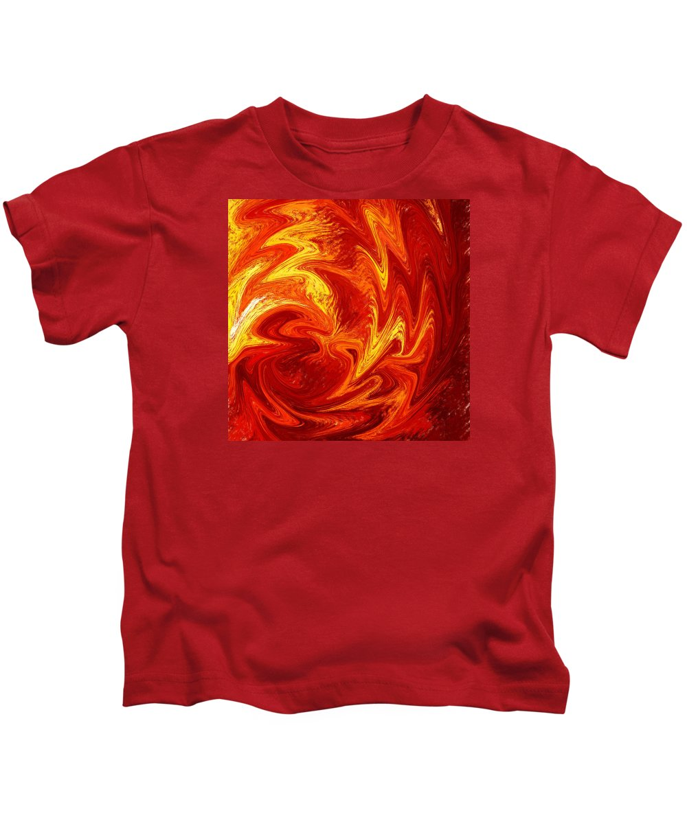 Abstract Kids T-Shirt featuring the painting Dancing Flames Abstract by Irina Sztukowski