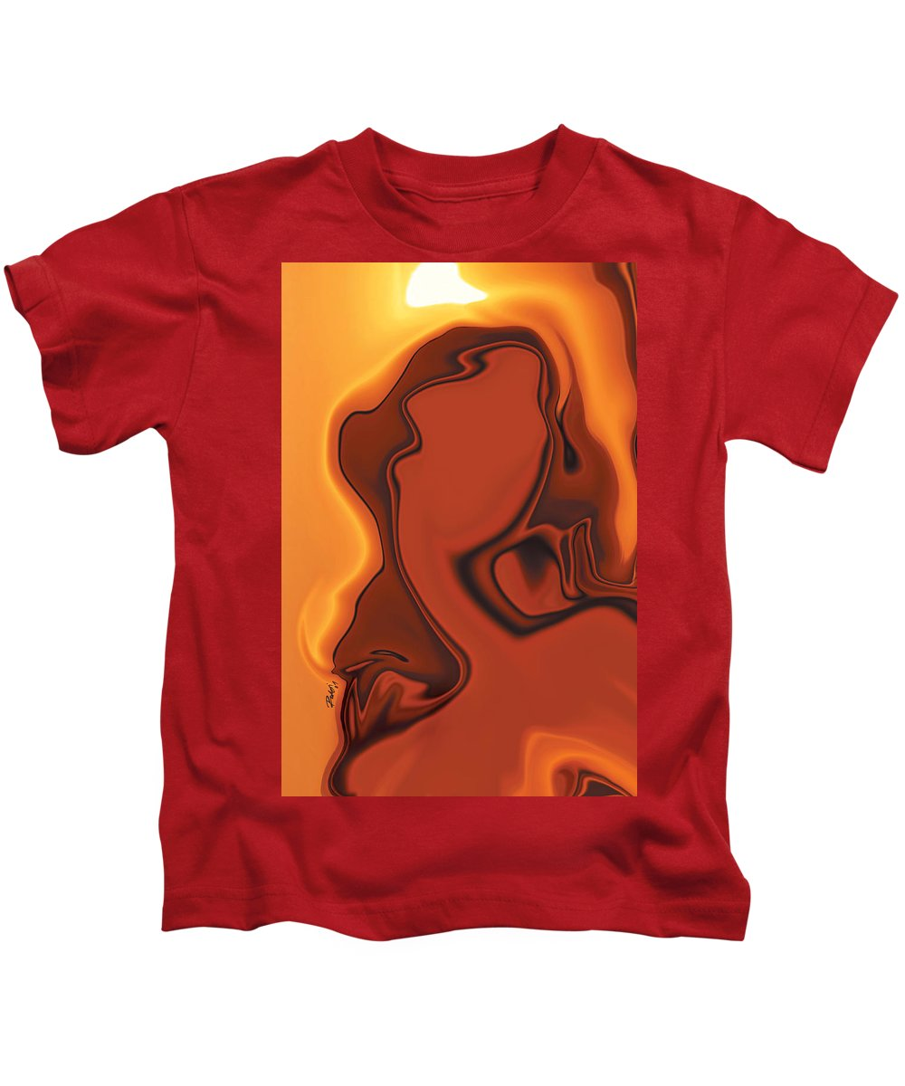 Abuse Adverse Art Beauty Brown Copper Digital Girl Golden Human Orange Red Right Venus Violence Wall Kids T-Shirt featuring the digital art Daughter Of Venus by Rabi Khan