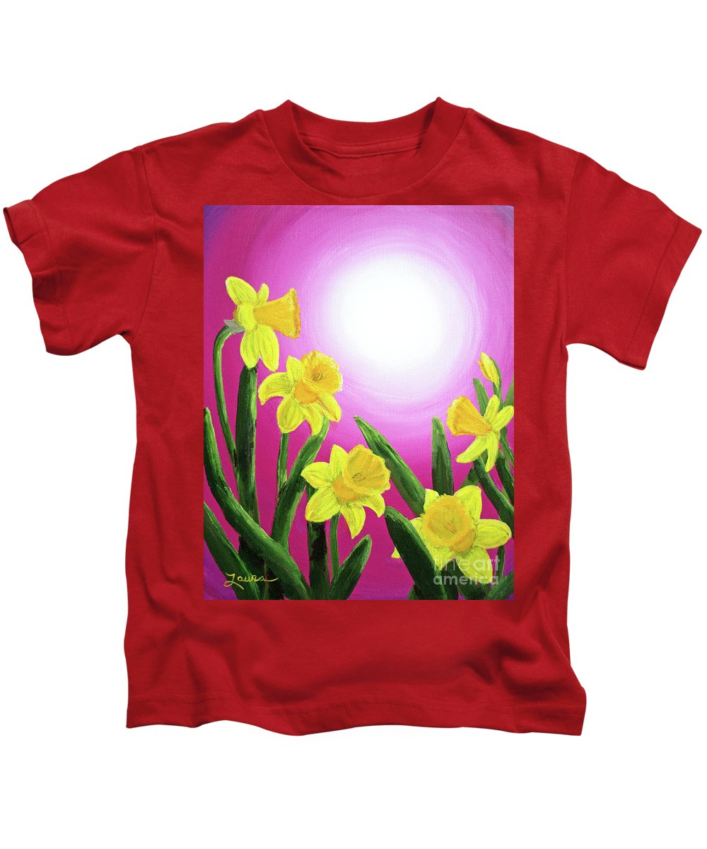 Painting Kids T-Shirt featuring the painting Daybreak Daffodils by Laura Iverson