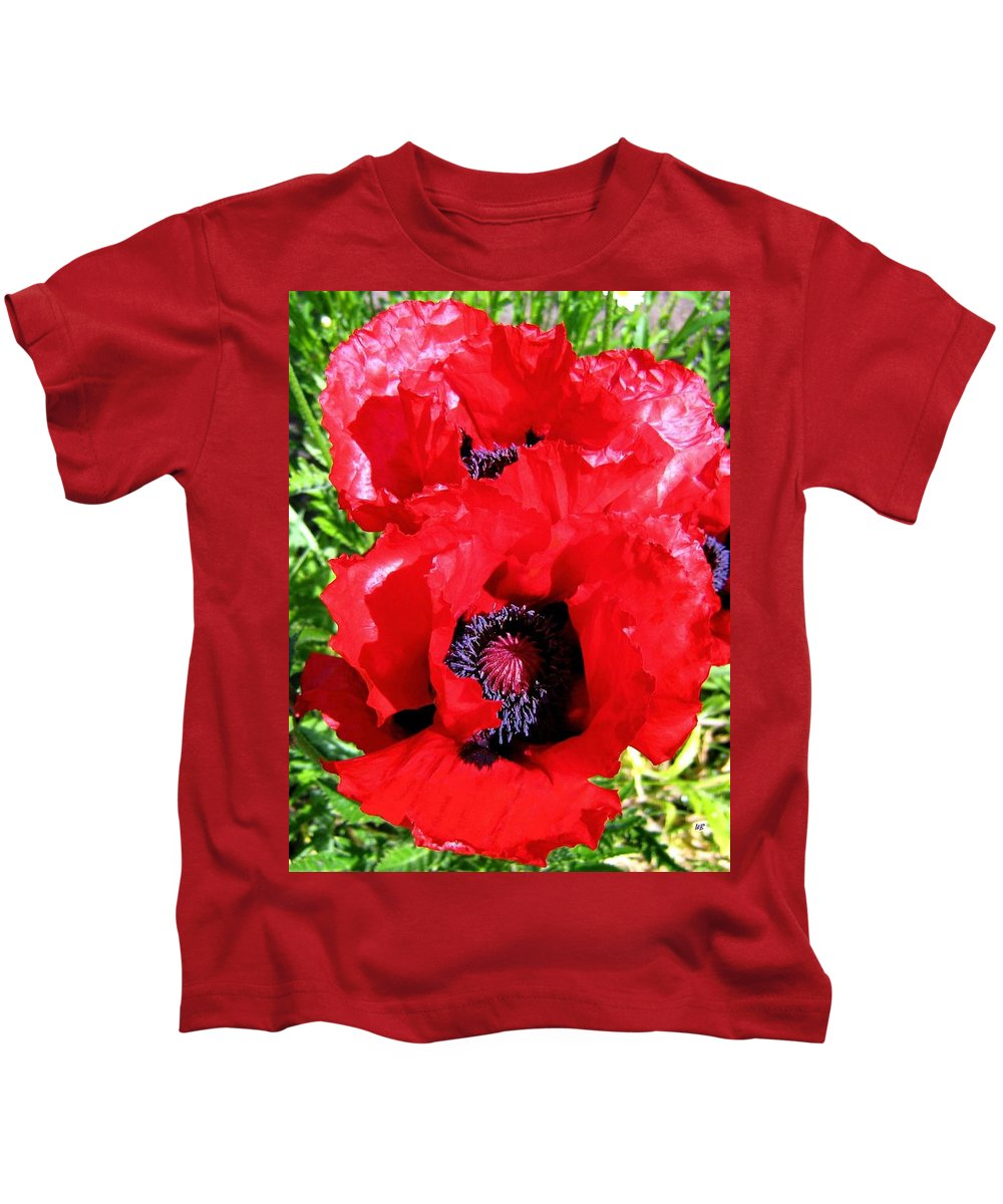 Poppies Kids T-Shirt featuring the photograph Dazzling Red Poppies by Will Borden