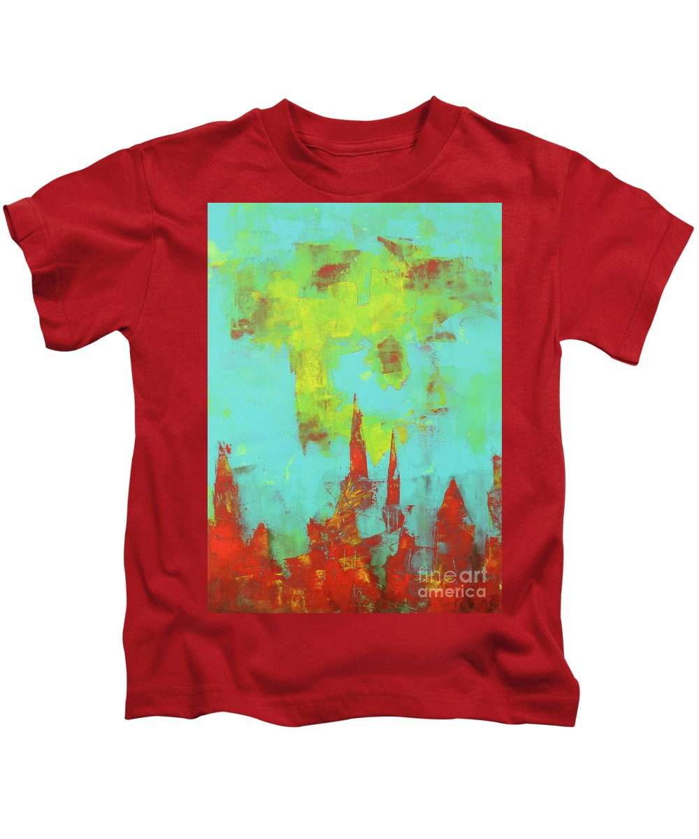 Abstract Kids T-Shirt featuring the painting Decomposition by Pinar Akbaba