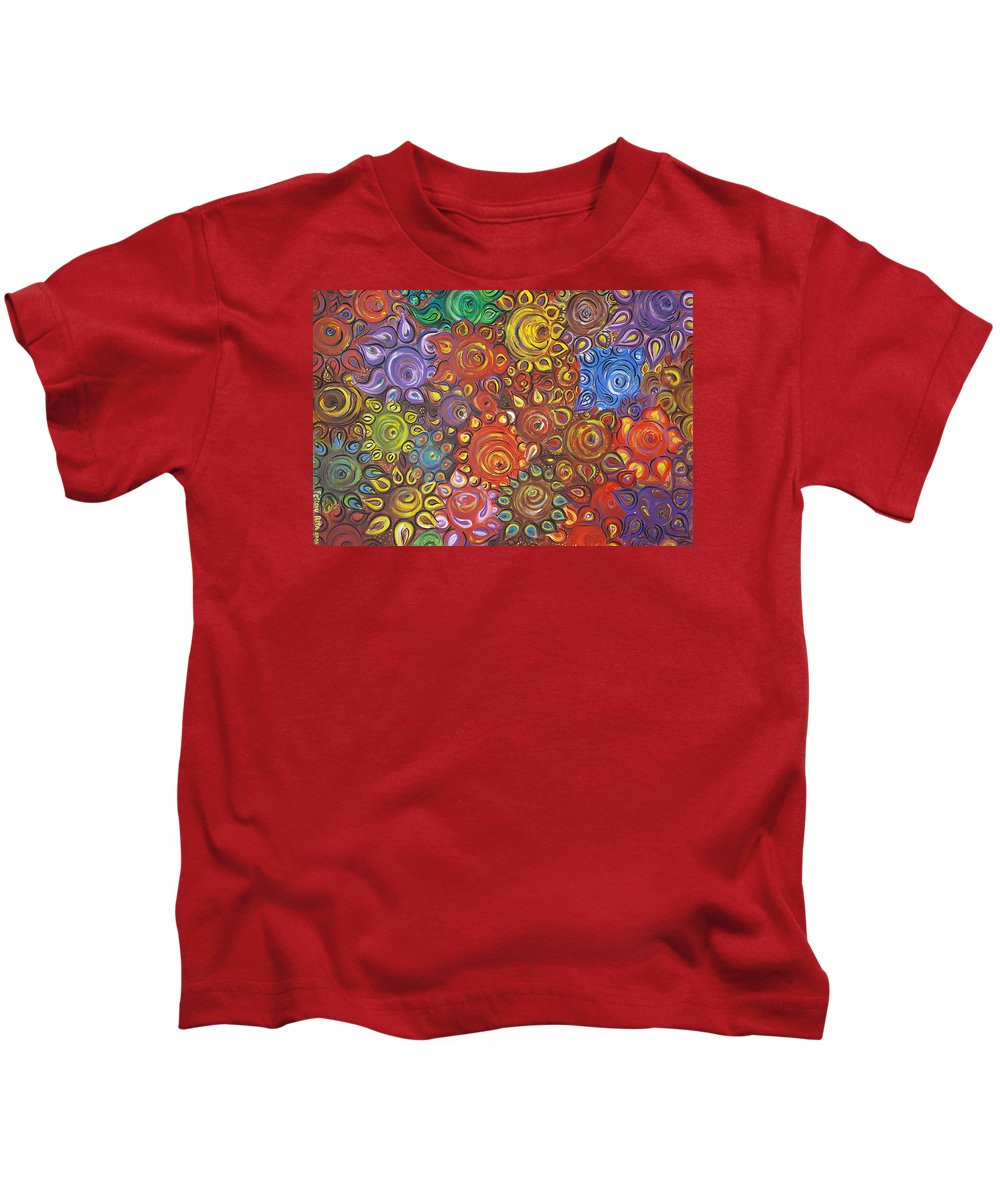 Flower Kids T-Shirt featuring the painting Decorative Flowers by Rita Fetisov