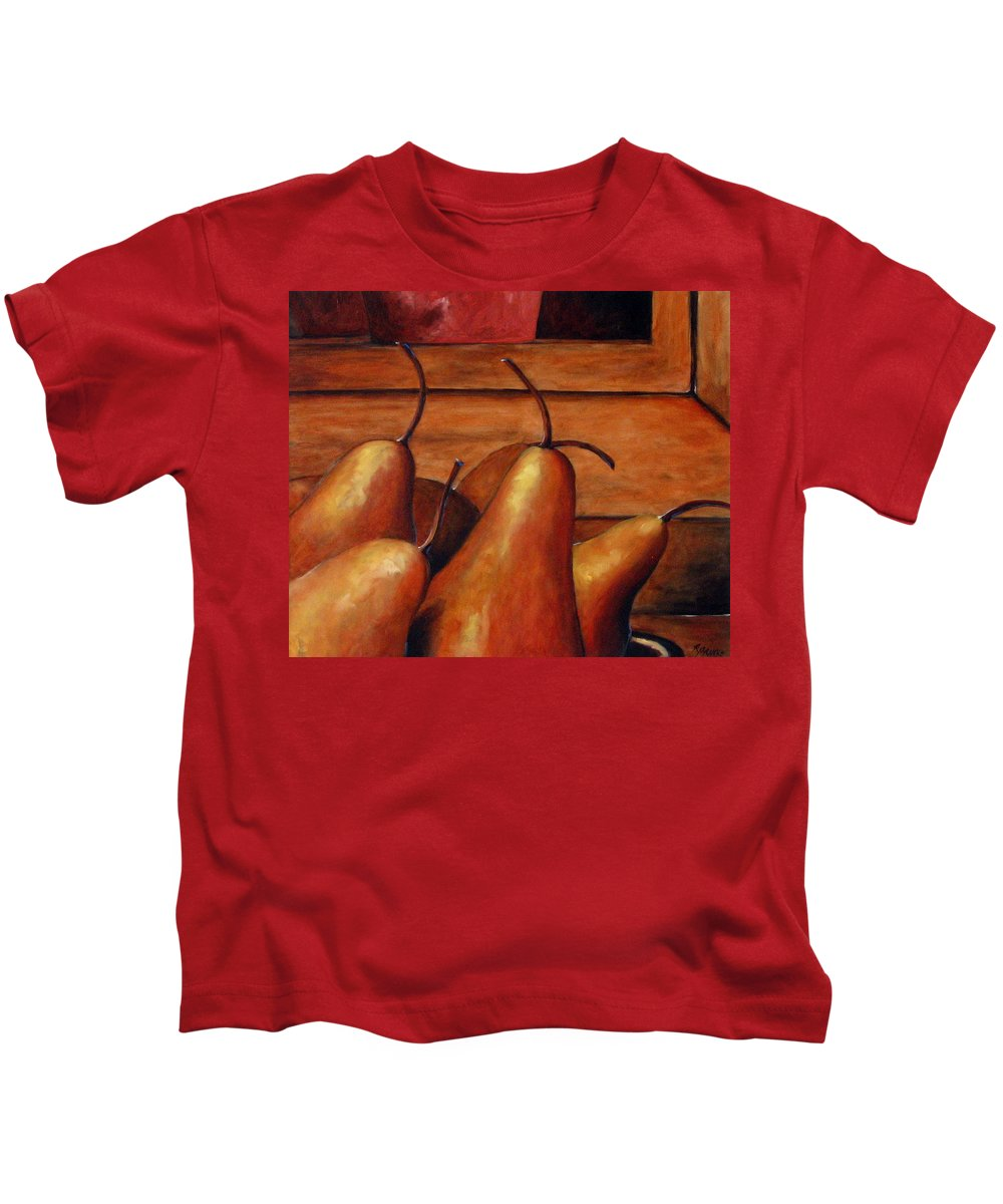 Pears Kids T-Shirt featuring the painting Delicious Pears by Richard T Pranke