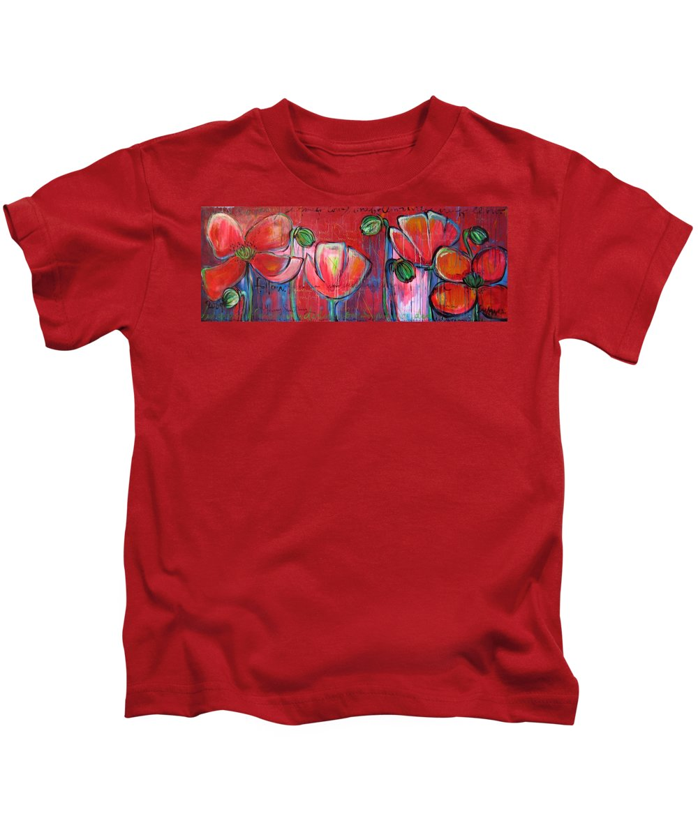 Red Kids T-Shirt featuring the painting Did You Say Sanctuary by Laurie Maves ART