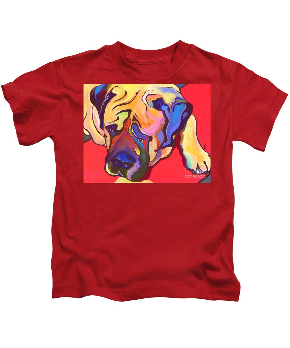 Mastiff Kids T-Shirt featuring the painting Diesel  by Pat Saunders-White