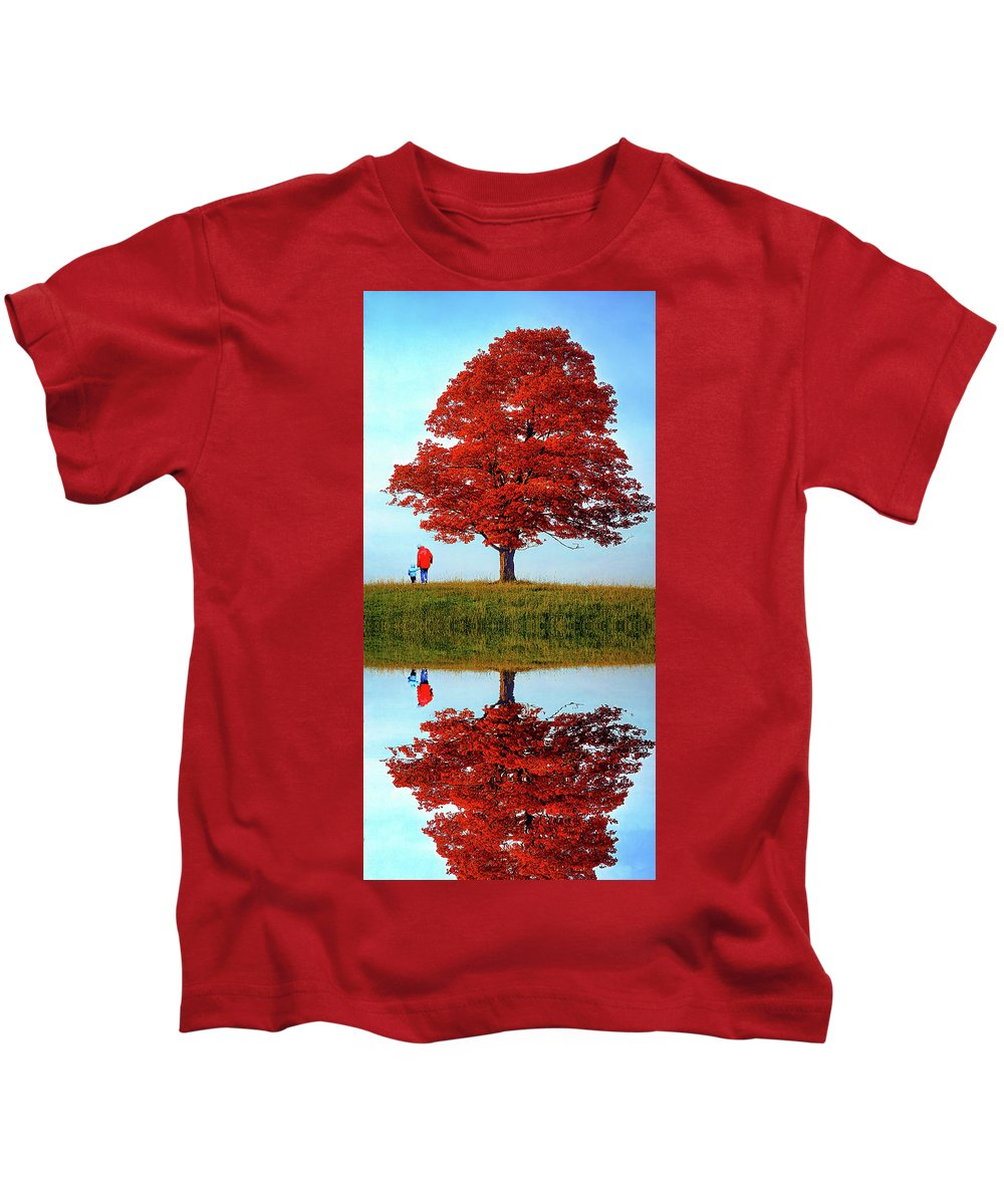 Sugar Maple Kids T-Shirt featuring the photograph Discovering Autumn - Reflection by Steve Harrington