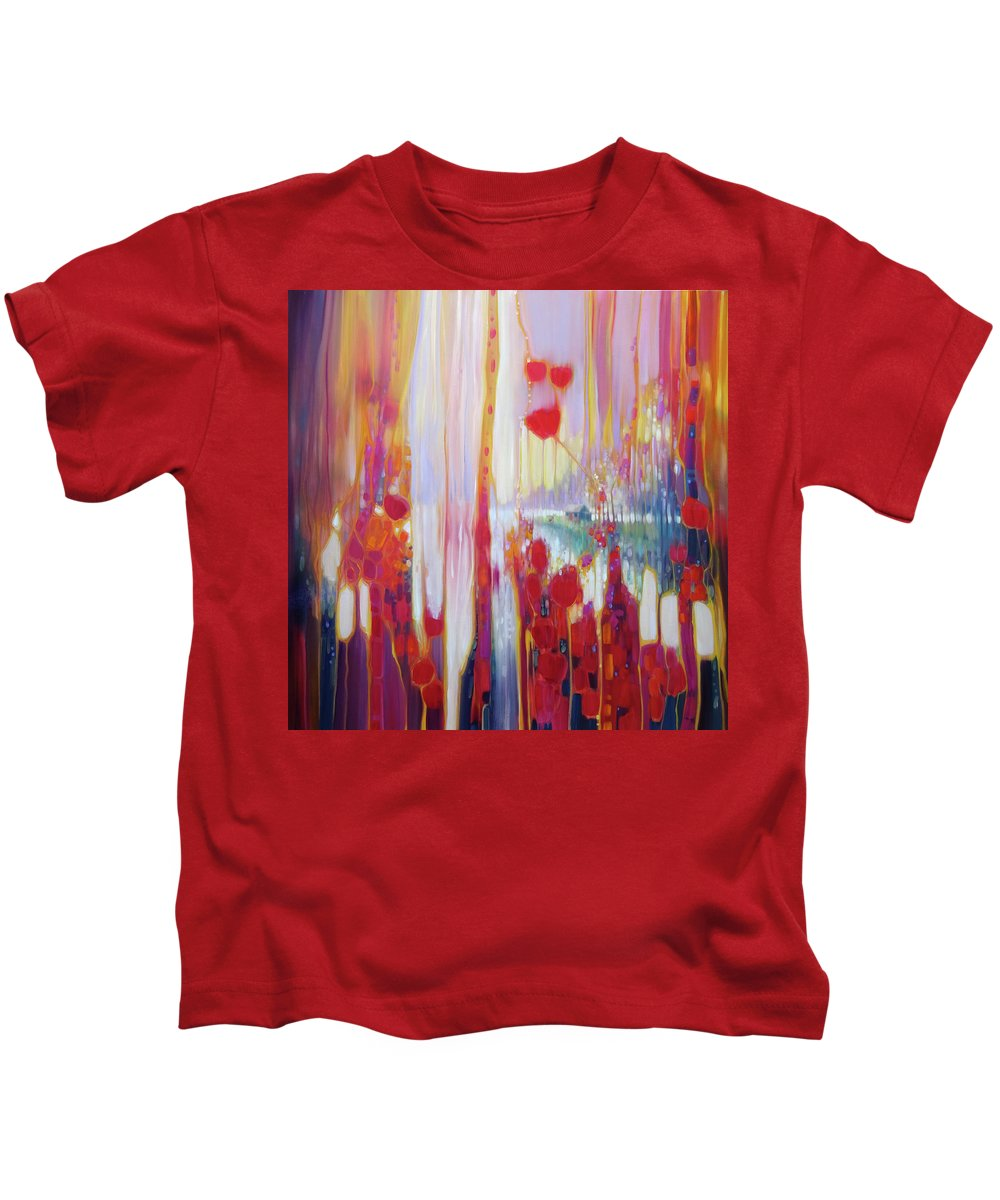 Modern Art Nouveau Kids T-Shirt featuring the painting Distant Memory - A Semi Abstract Landscape by Gill Bustamante