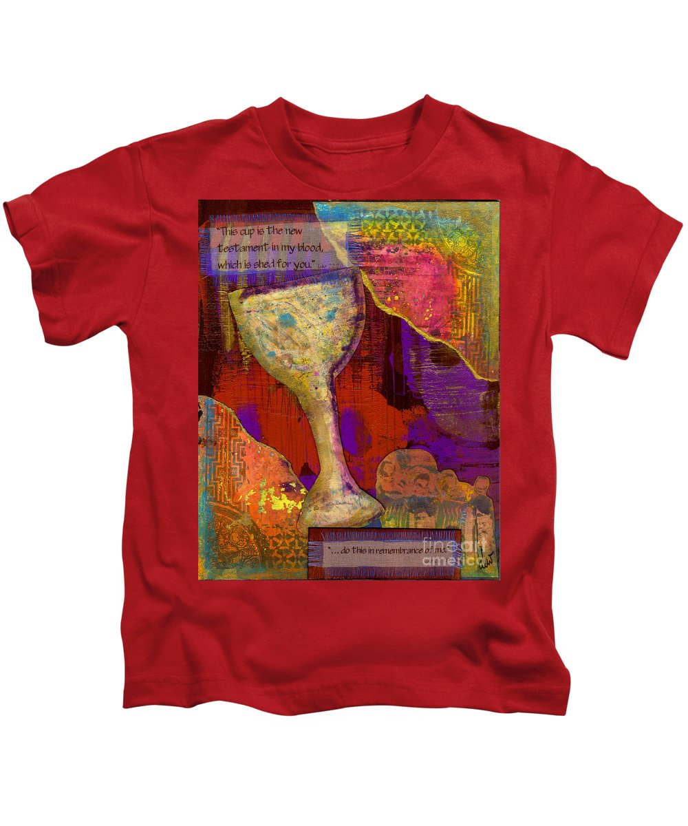 Wood Kids T-Shirt featuring the mixed media Do This In Remembrance by Angela L Walker