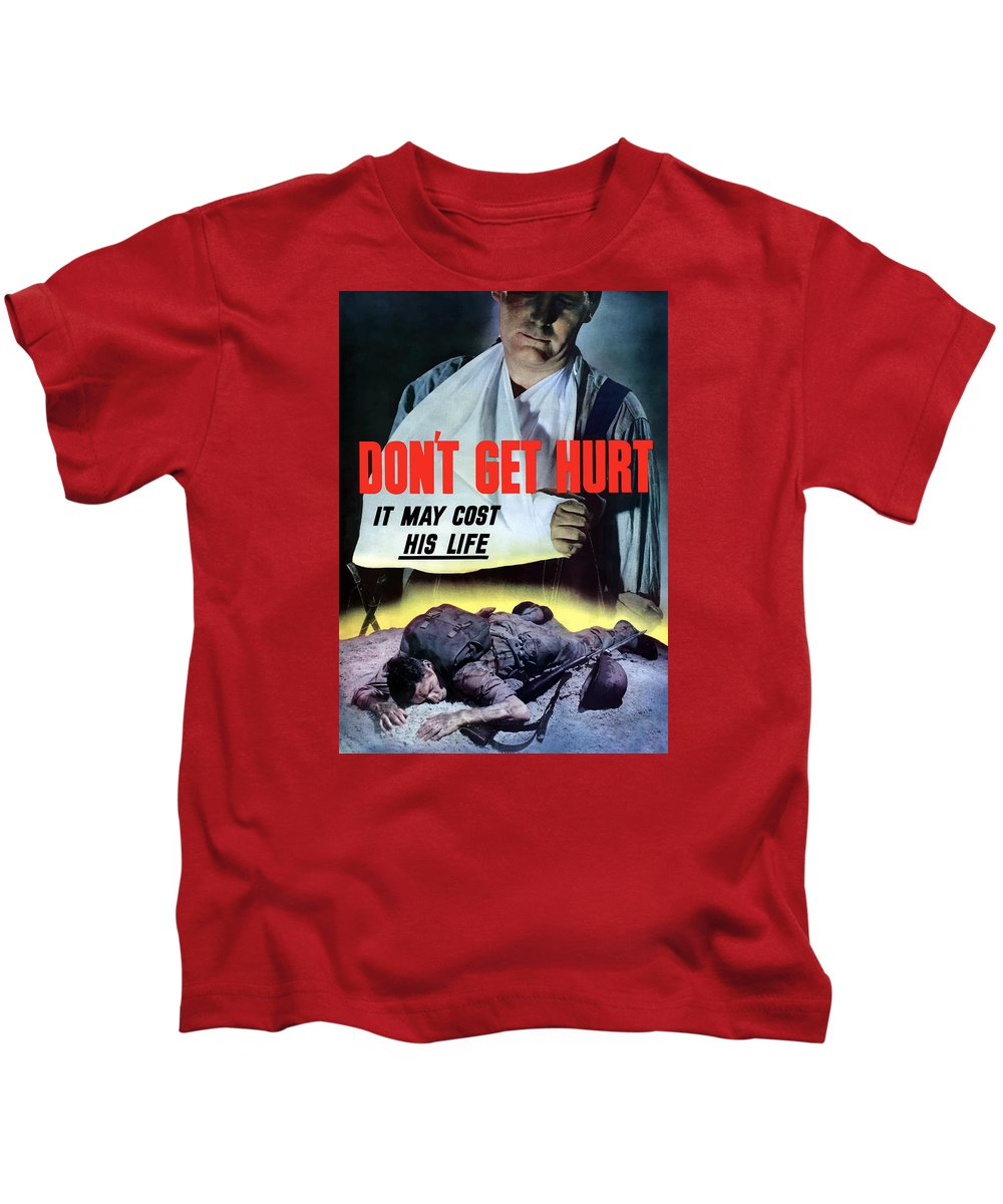 World War Ii Kids T-Shirt featuring the painting Don't Get Hurt It May Cost His Life by War Is Hell Store
