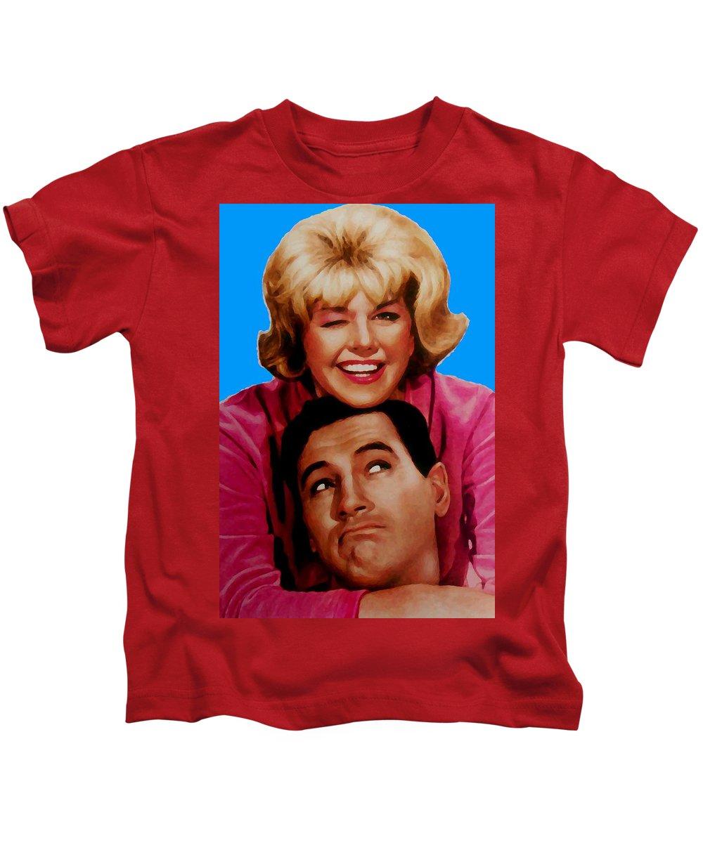Pillow Talk Kids T-Shirt featuring the mixed media Doris Day Rock Hudson by Paul Van Scott