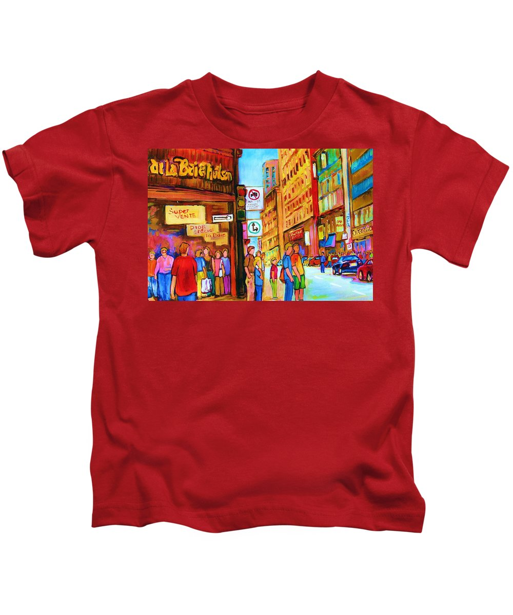 Cityscape Kids T-Shirt featuring the painting Downtown by Carole Spandau