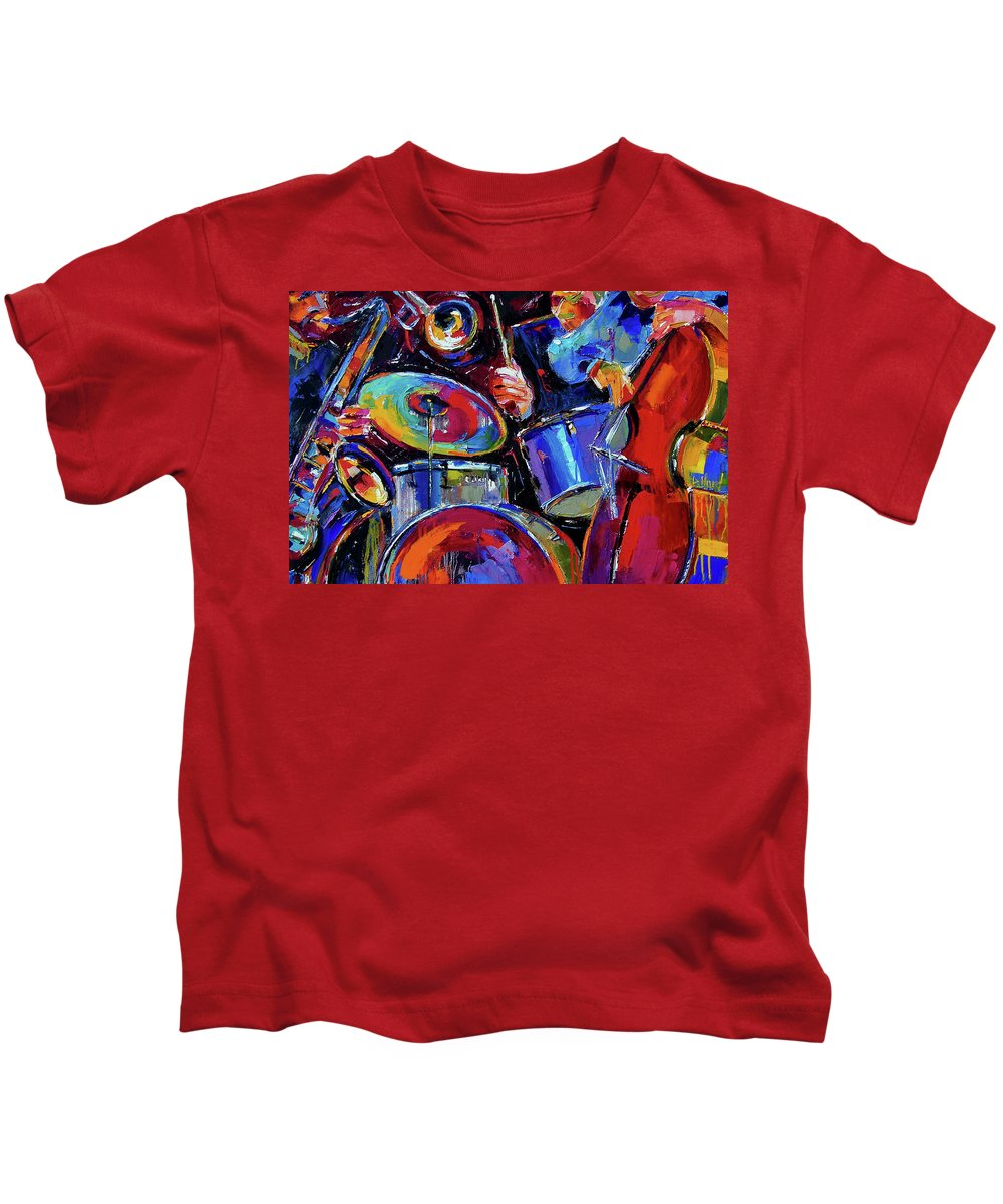 Jazz Kids T-Shirt featuring the painting Drums And Friends by Debra Hurd