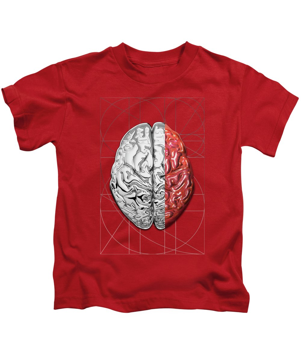 'dualities' Collection By Serge Averbukh Kids T-Shirt featuring the digital art Dualities - Half-silver Human Brain On Red And Black Canvas by Serge Averbukh