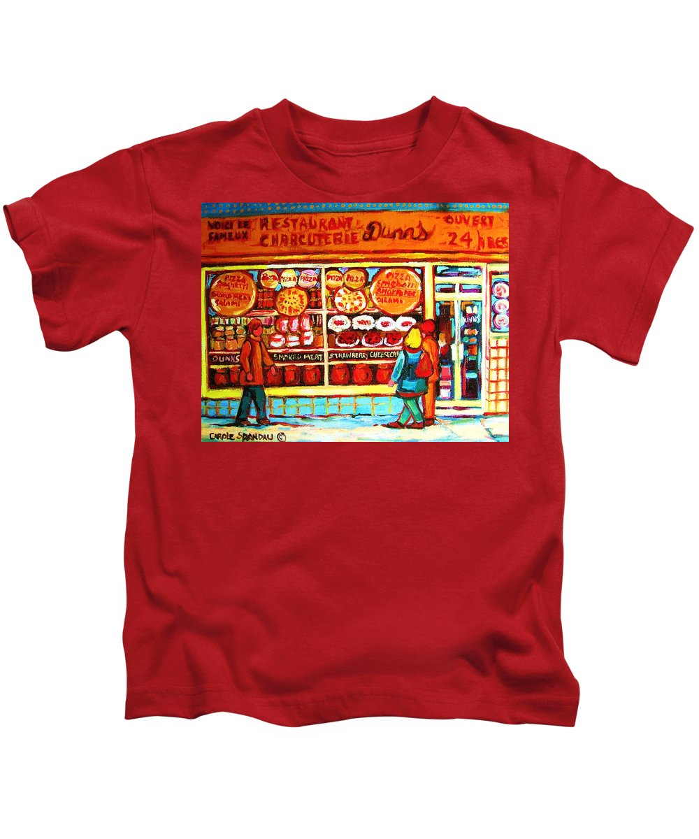 Montreal Kids T-Shirt featuring the painting Dunn's Treats And Sweets by Carole Spandau
