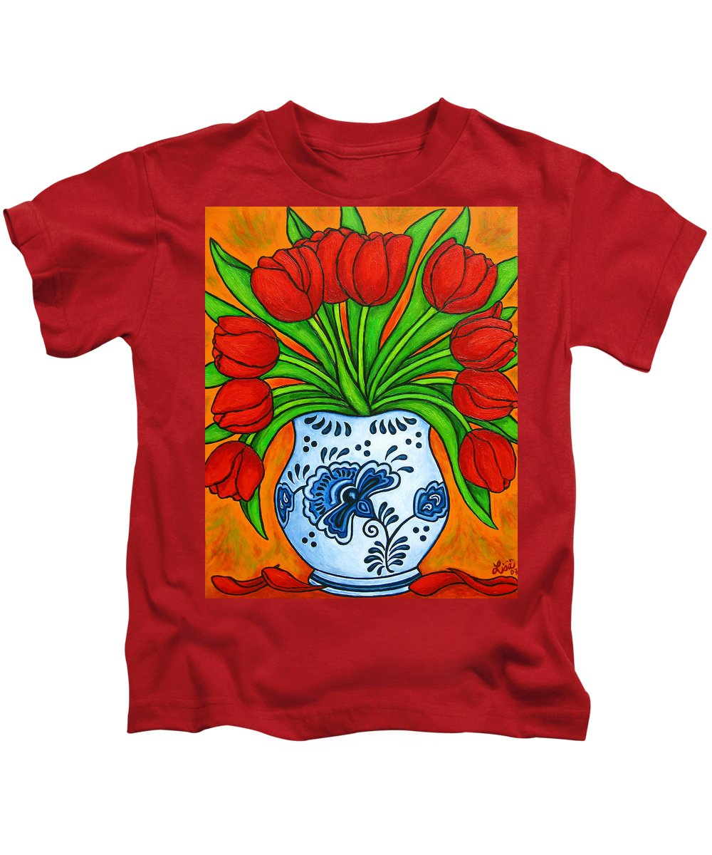 White Kids T-Shirt featuring the painting Dutch Delight by Lisa Lorenz